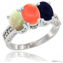 14K White Gold Natural Opal, Coral & Lapis Ring 3-Stone 7x5 mm Oval Diamond Accent