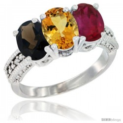 14K White Gold Natural Smoky Topaz, Citrine & Ruby Ring 3-Stone 7x5 mm Oval Diamond Accent