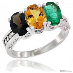 14K White Gold Natural Smoky Topaz, Citrine & Emerald Ring 3-Stone 7x5 mm Oval Diamond Accent
