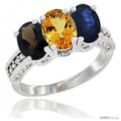 14K White Gold Natural Smoky Topaz, Citrine & Blue Sapphire Ring 3-Stone 7x5 mm Oval Diamond Accent