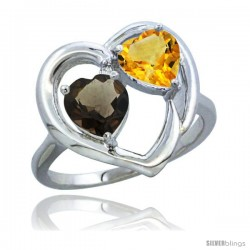 14k White Gold 2-Stone Heart Ring 6mm Natural Smoky Topaz & Citrine Diamond Accent