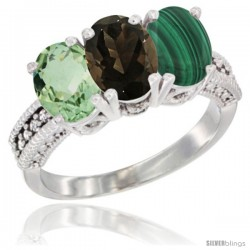 14K White Gold Natural Green Amethyst, Smoky Topaz & Malachite Ring 3-Stone 7x5 mm Oval Diamond Accent