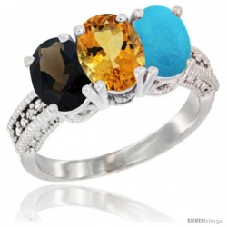 14K White Gold Natural Smoky Topaz, Citrine & Turquoise Ring 3-Stone 7x5 mm Oval Diamond Accent