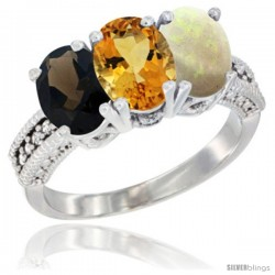 14K White Gold Natural Smoky Topaz, Citrine & Opal Ring 3-Stone 7x5 mm Oval Diamond Accent