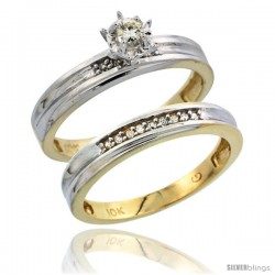10k Yellow Gold Ladies' 2-Piece Diamond Engagement Wedding Ring Set, 1/8 in wide -Style Ljy104e2