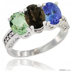 14K White Gold Natural Green Amethyst, Smoky Topaz & Tanzanite Ring 3-Stone 7x5 mm Oval Diamond Accent