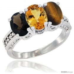 14K White Gold Natural Smoky Topaz, Citrine & Tiger Eye Ring 3-Stone 7x5 mm Oval Diamond Accent