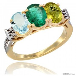 10K Yellow Gold Natural Aquamarine, Emerald & Lemon Quartz Ring 3-Stone Oval 7x5 mm Diamond Accent