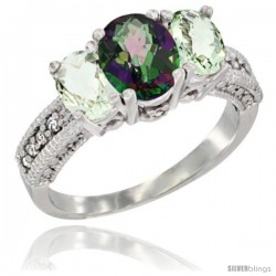 14k White Gold Ladies Oval Natural Mystic Topaz 3-Stone Ring with Green Amethyst Sides Diamond Accent