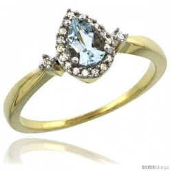 10k Yellow Gold Diamond Aquamarine Ring 0.33 ct Tear Drop 6x4 Stone 3/8 in wide