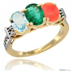 10K Yellow Gold Natural Aquamarine, Emerald & Coral Ring 3-Stone Oval 7x5 mm Diamond Accent