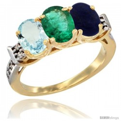 10K Yellow Gold Natural Aquamarine, Emerald & Lapis Ring 3-Stone Oval 7x5 mm Diamond Accent
