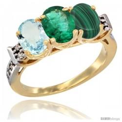 10K Yellow Gold Natural Aquamarine, Emerald & Malachite Ring 3-Stone Oval 7x5 mm Diamond Accent