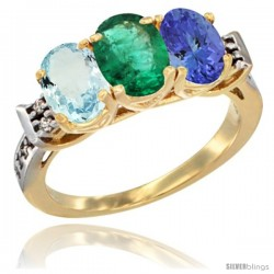 10K Yellow Gold Natural Aquamarine, Emerald & Tanzanite Ring 3-Stone Oval 7x5 mm Diamond Accent