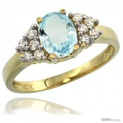 10k Yellow Gold Ladies Natural Aquamarine Ring oval 8x6 Stone