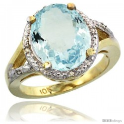 10k Yellow Gold Ladies Natural Aquamarine Ring oval 12x10 Stone