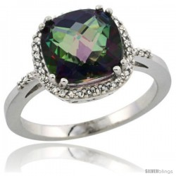 Sterling Silver Diamond Mystic Topaz Ring 3.05 ct Cushion Cut 9x9 mm, 1/2 in wide