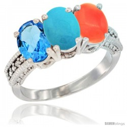 10K White Gold Natural Swiss Blue Topaz, Turquoise & Coral Ring 3-Stone Oval 7x5 mm Diamond Accent