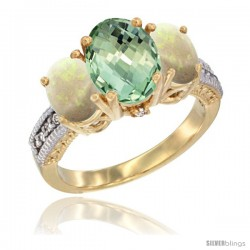 14K Yellow Gold Ladies 3-Stone Oval Natural Green Amethyst Ring with Opal Sides Diamond Accent