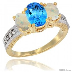 14k Yellow Gold Ladies Oval Natural Swiss Blue Topaz 3-Stone Ring with Opal Sides Diamond Accent