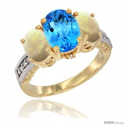 14K Yellow Gold Ladies 3-Stone Oval Natural Swiss Blue Topaz Ring with Opal Sides Diamond Accent