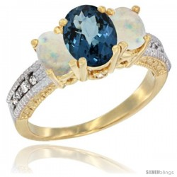 14k Yellow Gold Ladies Oval Natural London Blue Topaz 3-Stone Ring with Opal Sides Diamond Accent