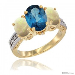 14K Yellow Gold Ladies 3-Stone Oval Natural London Blue Topaz Ring with Opal Sides Diamond Accent