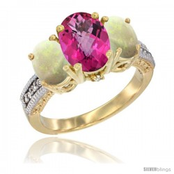 14K Yellow Gold Ladies 3-Stone Oval Natural Pink Topaz Ring with Opal Sides Diamond Accent