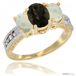14k Yellow Gold Ladies Oval Natural Smoky Topaz 3-Stone Ring with Opal Sides Diamond Accent