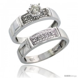 Sterling Silver 2-Piece Diamond Engagement Ring Set, w/ 0.10 Carat Brilliant Cut Diamonds, 3/16 in. (4.5mm) wide