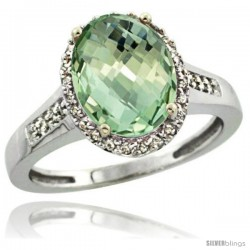 Sterling Silver Diamond Natural Green Amethyst Ring Ring 2.4 ct Oval Stone 10x8 mm, 1/2 in wide