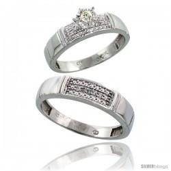 Sterling Silver 2-Piece Diamond Ring Set ( Engagement Ring & Man's Wedding Band ), w/ 0.10 Carat Brilli -Style Ag107em