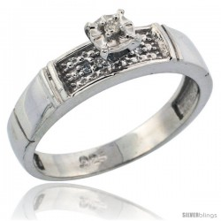 Sterling Silver Diamond Engagement Ring, w/ 0.07 Carat Brilliant Cut Diamonds, 3/16 in. (4.5mm) wide