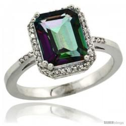 Sterling Silver Diamond Mystic Topaz Ring 2.53 ct Emerald Shape 9x7 mm, 1/2 in wide