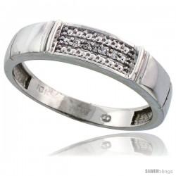 Sterling Silver Men's Diamond Band, w/ 0.03 Carat Brilliant Cut Diamonds, 3/16 in. (5mm) wide