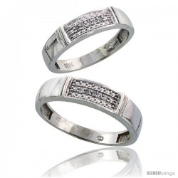 Sterling Silver 2-Piece His (5mm) & Hers (4.5mm) Diamond Wedding Band Set, w/ 0.06 Carat Brilliant Cut Diamonds