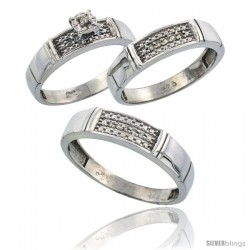 Sterling Silver 3-Piece Trio His (5mm) & Hers (4.5mm) Diamond Wedding Band Set, w/ 0.13 Carat Brilliant Cut Diamonds