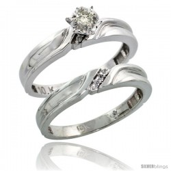 Sterling Silver 2-Piece Diamond Engagement Ring Set, w/ 0.07 Carat Brilliant Cut Diamonds, 1/8 in. (3.5mm) wide