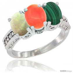 14K White Gold Natural Opal, Coral & Malachite Ring 3-Stone 7x5 mm Oval Diamond Accent