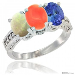 14K White Gold Natural Opal, Coral & Tanzanite Ring 3-Stone 7x5 mm Oval Diamond Accent