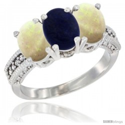 14K White Gold Natural Lapis & Opal Sides Ring 3-Stone 7x5 mm Oval Diamond Accent
