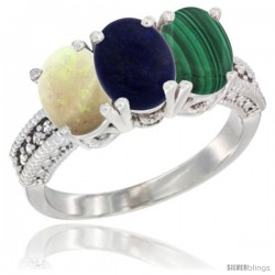 14K White Gold Natural Opal, Lapis & Malachite Ring 3-Stone 7x5 mm Oval Diamond Accent