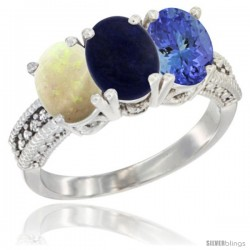 14K White Gold Natural Opal, Lapis & Tanzanite Ring 3-Stone 7x5 mm Oval Diamond Accent