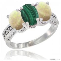14K White Gold Natural Malachite & Opal Sides Ring 3-Stone 7x5 mm Oval Diamond Accent