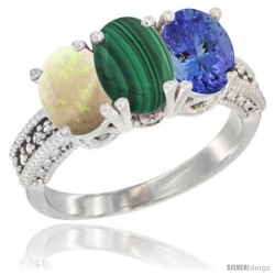 14K White Gold Natural Opal, Malachite & Tanzanite Ring 3-Stone 7x5 mm Oval Diamond Accent