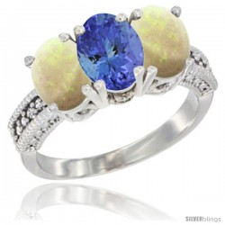 14K White Gold Natural Tanzanite & Opal Sides Ring 3-Stone 7x5 mm Oval Diamond Accent