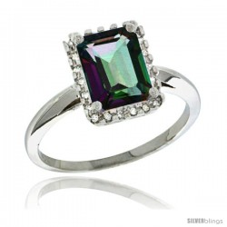 Sterling Silver Diamond Mystic Topaz Ring 1.6 ct Emerald Shape 8x6 mm, 1/2 in wide
