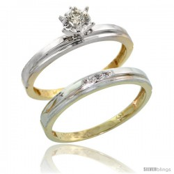 10k Yellow Gold Ladies' 2-Piece Diamond Engagement Wedding Ring Set, 1/8 in wide -Style Ljy106e2