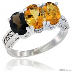 14K White Gold Natural Smoky Topaz, Citrine & Whisky Quartz Ring 3-Stone 7x5 mm Oval Diamond Accent