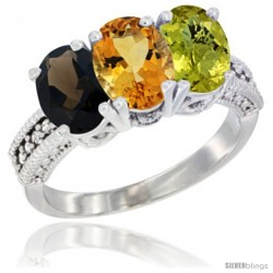 14K White Gold Natural Smoky Topaz, Citrine & Lemon Quartz Ring 3-Stone 7x5 mm Oval Diamond Accent